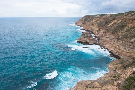 rocks water: Scenic view along Indian Ocean cliff coast of Kalbarri National Park, Western Australia. Stock Photo