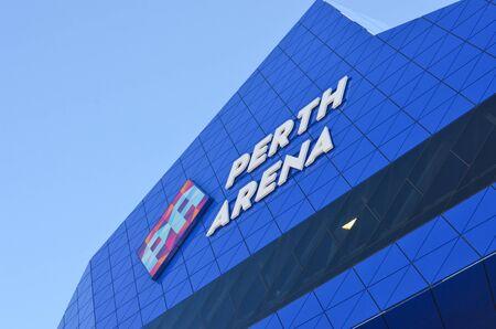 venue: Perth July 24: Close up detail of Perth Arena, event venue in Perth, Western Australia, in modern design architecture.