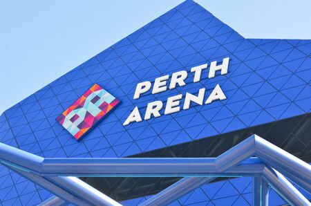 venue: Perth July 24: Close up detail of Perth Arena, event venue in Perth, Western Australia, in modern design architecture.