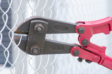 intruding: Close up detail of heavy metal bolt clipper with red handles cutting fence, blurred background and copy space.