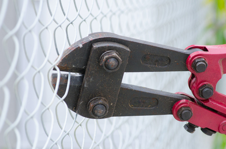 intruding: Close up of heavy metal bolt clipper with red handles cutting fence, blurred background and copy space.