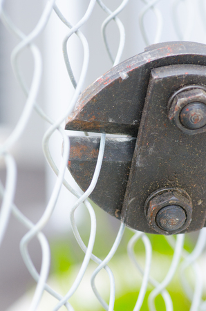 intruding: Close up of heavy metal bolt cutter  clipping fence, blurred background and copy space. Stock Photo