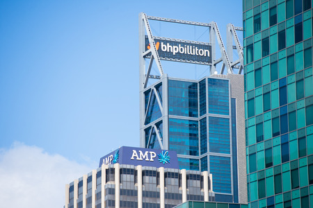 amp tower: Perth, Western Australia - February 21, 2017: Office buildings of BHP Biliton and AMP, mining and banking companies , with regional headquarters in Perth, Western Australia.