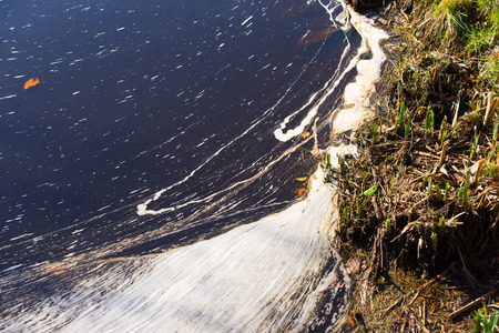 dumping: Illegal Dumped household rubbish floating on water of lake, pond or river, contaminating, poisoning  environment. Stock Photo
