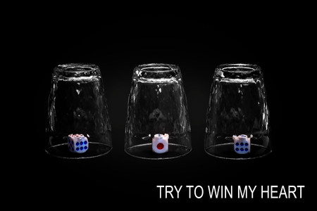 Try to win my heart. Closeup view of three overturned shot glasses with dices, tiles or dies inside each glass. Isolated against black background. Missing Impossible! Stock Photo