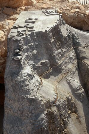 A model of the sophisticated water system, which channeled water from the gate to cisterns at Masada, Israel Foto de archivo - 150112569