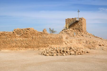 The watchtower is the highest point in the Masada Fortress, Masada National Park, near the Dead Sea, in Israel