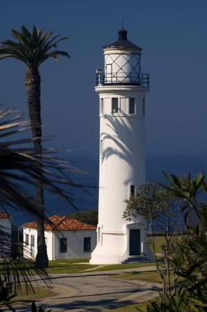 The Point Vicente Lighthouse in Palos Verdes, California in the morning light