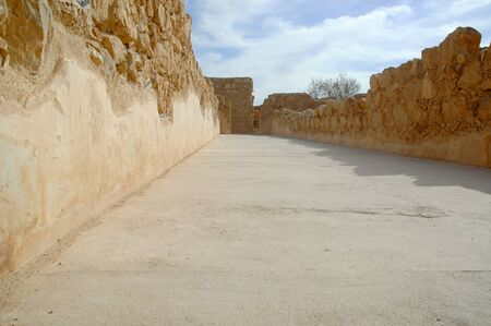 Walls of the storage rooms at the Masada fortification overlooking the Dead Sea