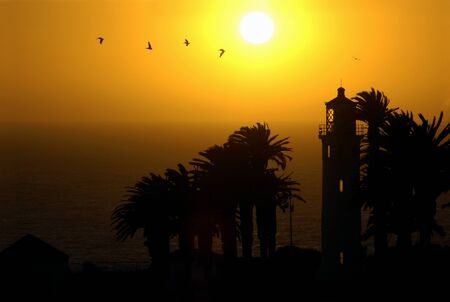 Silhouette of the Point Vicente Lighthouse in Palos Verdes, California at sunset