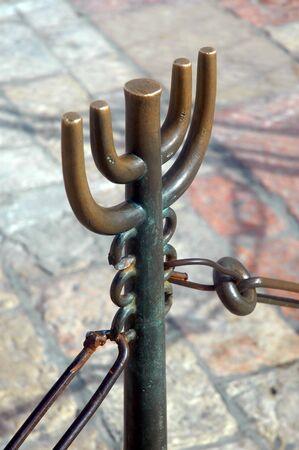 An ornamental bronze stanchion at the Wailing Wall, Jerusalem