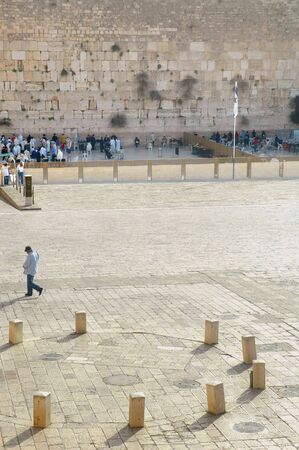 Wide shot the Wailing Wall, also know as the Western Wall, in Jerusalem, Israel, with the Outer Plaza in the foreground