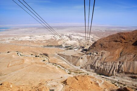 View of the Jordan Valley from a cable car which carries tourists to Masada National Park, Israel Foto de archivo
