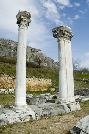 Resilient columns in the archaeological ruins of Ancient Philippi, in the Region of Eastern Macedonia and Thrace, Greece