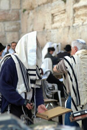 A Hebrew man praying at the Wailing Wall, also know as the Western Wall, in Jerusalem, Israel