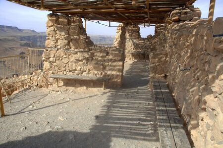 The ruins of the guard room, an area for palace guards and armaments in Masada, Israel