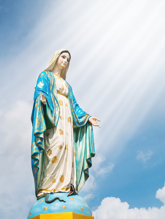 Mary mother of Jesus at The Cathedral of the Immaculate Conception with soft lightray