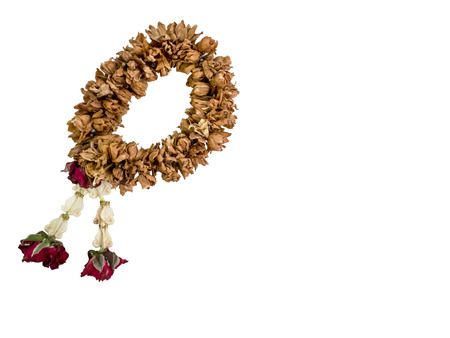 top view of dry flower garland isolated on white background