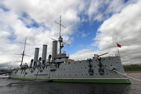 Editorial Photo Cruiser Aurora standing on the pier in St. Petersburg, made in July 2008 Russia