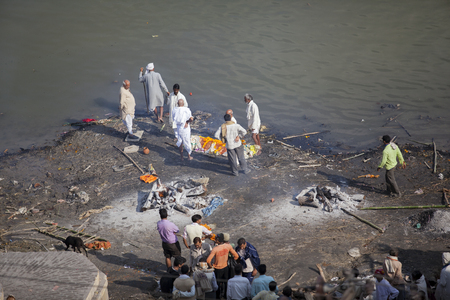 India, Varanasi - November 2009: funeral ceremony of cremation on the banks of the Ganges River