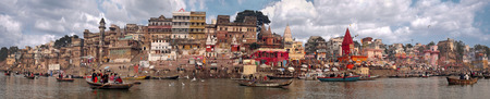 panorama of the waterfront city of Varanasi taken in India in November 2009