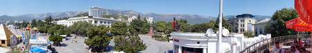 panorama of the main square of the city of Yalta, Crimea, Russia was taken in August 2012