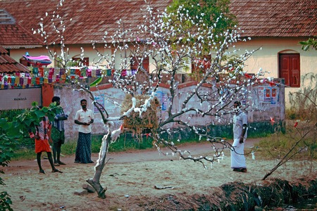 local residents and the tree decorated for Christmas on the banks of the river the state of Kerala, India, filmed in December 2013