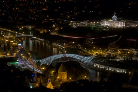 View of Tbilisi's night city center from a high point, Georgia 스톡 콘텐츠