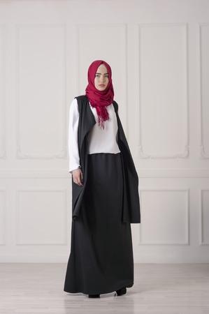 young beautiful Islamic woman in modern oriental clothes, Ufa