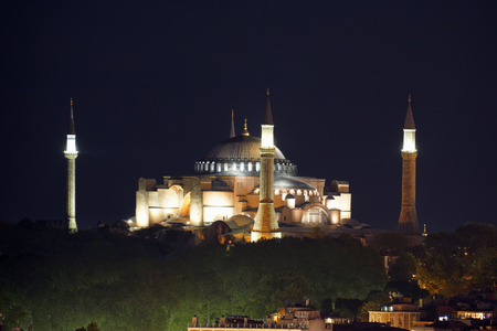 View of the Cathedral of St. Sophia (Aya Sofia) at night, Turkey