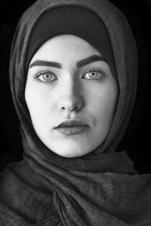 Portrait of a beautiful Muslim woman, black and white, Ufa 스톡 콘텐츠