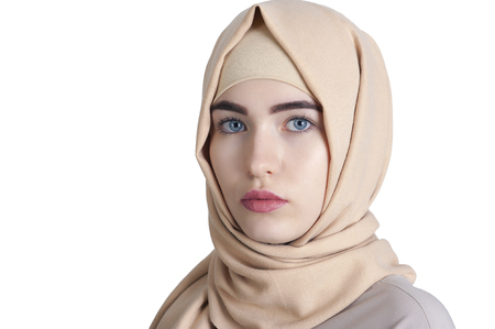 portrait of a beautiful young Muslim woman wearing a hijab on her head, Ufa 스톡 콘텐츠