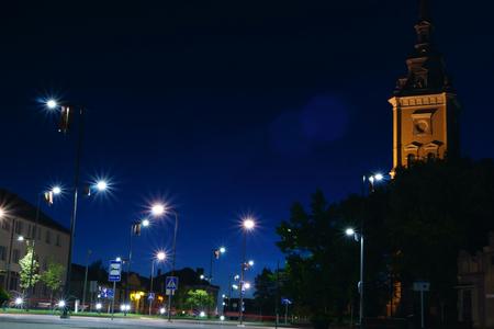midnight: Midnight cityscape. Joniskis Siauliai district, Lithuania. Stock Photo