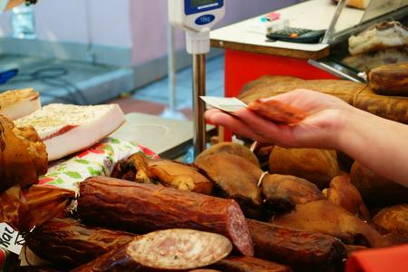 disctrict: City celebration fair. Joniskis, Siauliai disctrict, Lithuania: Outdoor Butcher Shop. Stock Photo
