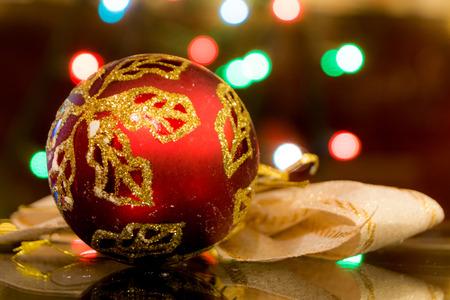 blinking: Beautiful Christmas decoration over blinking background.Close-up image