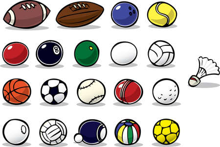 Series of cartoon ball icons Stock Photo