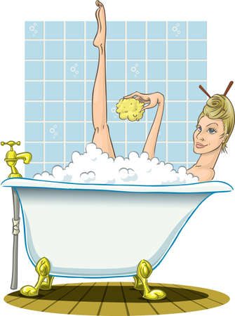 Blonde taking a warm bath, with sponge.