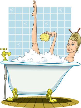 Blonde taking a warm bath, with sponge.