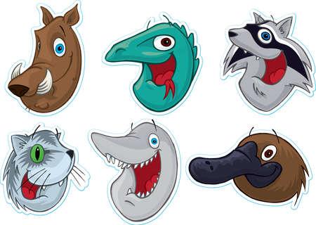 Smiling Face Fridge MagnetStickers  (Animals) #2 Stock Photo