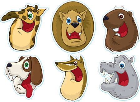 Smiling Face Fridge MagnetStickers  (Animals) #3 Stock Photo