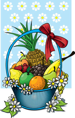 Fruit basket with assorted items Stock Photo