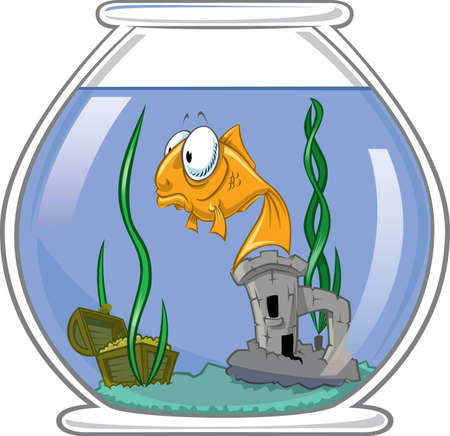 turret: Sad goldfish in bowl Stock Photo