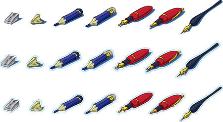 Section of pencil and pen icons Stock Photo
