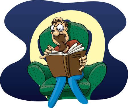 thriller: Cartoon man reading a thriller Stock Photo