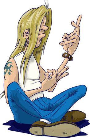 Rocker doing air guitar