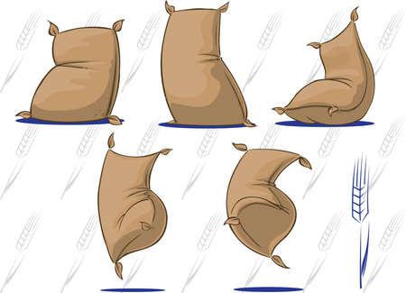 Trigo / harina sacos con personalidad  Foto de archivo - 3440648