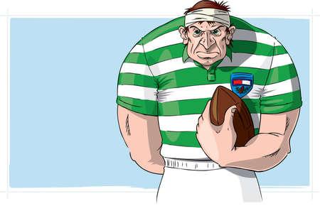caricatura: El jugador de rugby con la pelota