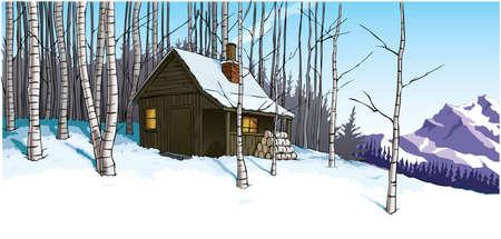 montañas caricatura: Escena de nieve con refugio retiro