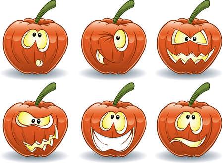 Pumpkin Emoticons Stock Photo