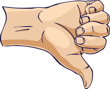 Hands showing thumb down from side Stock Vector - 10250971